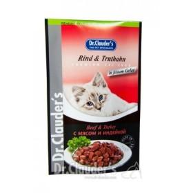 پوچ مخصوص گربه حاوی گوشت گاو و بوقلمون در ژله دکتر کلودرز