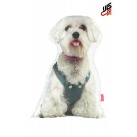 کوسن فانتزی طرح سگ سفید پرس کالا