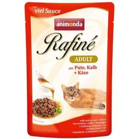 پوچ رافینه حاوی گوشت بوقلمون و گوساله و پنیر مخصوص گربه بالغ