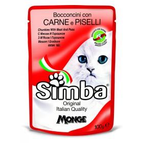 پوچ گربه با طعم گوشت و نخود فرنگی سیمبا