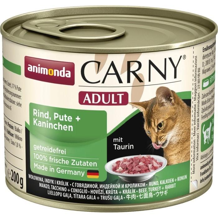 کنسرو پته حاوی گوشت گاو و بوقلمون و خرگوش مخصوص گربه بالغ کارنی