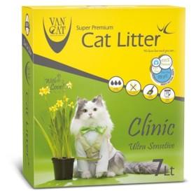 خاک گربه ون کت اولتراکلامپینگ کلینیک مخصوص گربه های حساس حاوی مواد آنتی باکتریال - کارتن 7 لیتری