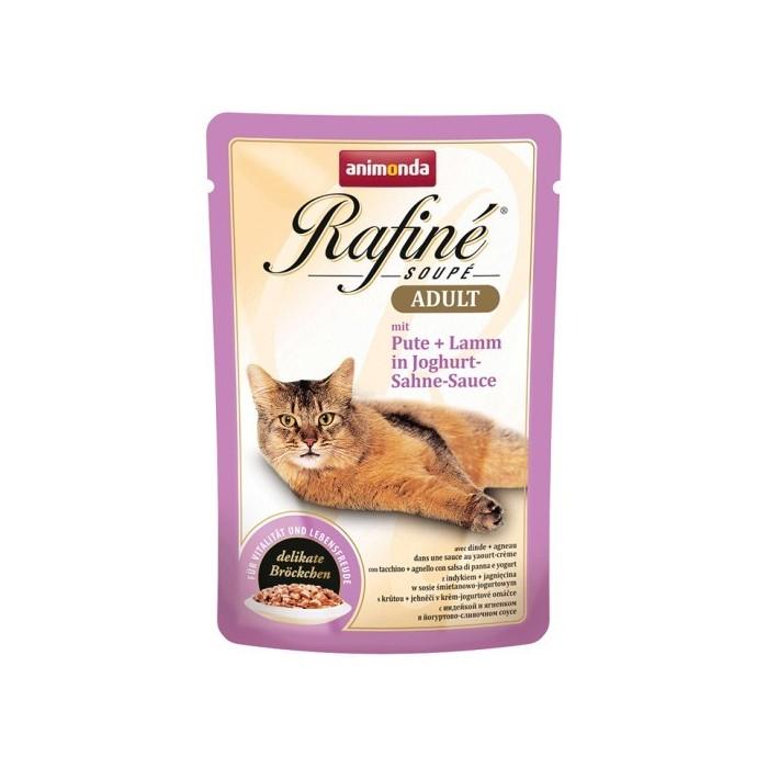پوچ رافینه حاوی گوشت بوقلمون و بره بهمراه سس ماست و خامه مخصوص گربه بالغ