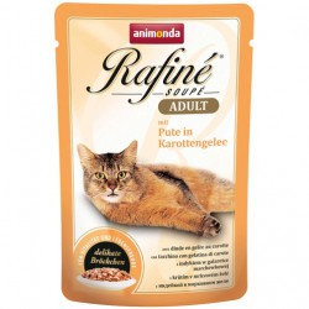 پوچ رافینه حاوی گوشت بوقلمون بهمراه ژله هویج مخصوص گربه بالغ