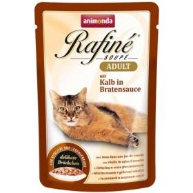 پوچ رافینه حاوی گوشت گوساله بهمراه سس تنوری مخصوص گربه بالغ