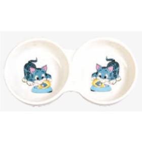 ظرف غذای دو قلوی سرامیکی گربه تریکسی