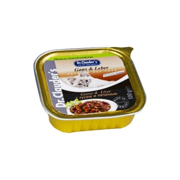 خوراک کاسه ای دکتر کلودرز مخصوص گربه حاوی جگر و گوشت غاز با سس