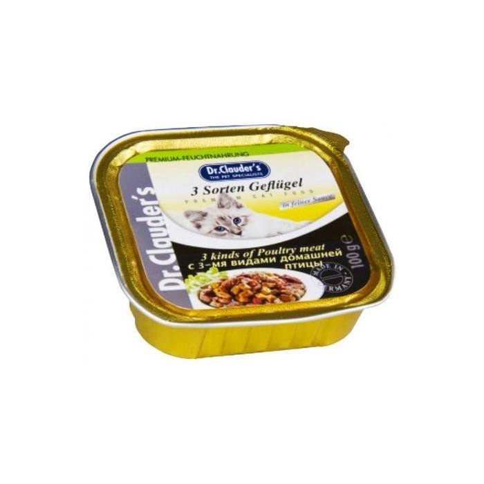 خوراک کاسه ای دکتر کلودرز مخصوص گربه حاوی مرغ با سس