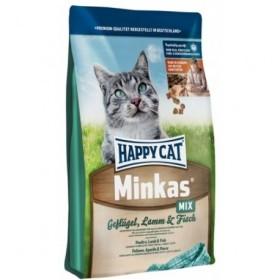 غذای خشک گربه مینکاس با گوشت ماکیان بره و ماهی مخصوص گربه های بالغ هپی کت 1.5 کیلویی