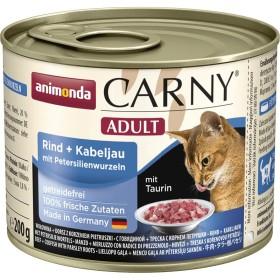 کنسرو پته حاوی گوشت گاو و ماهی کاد و ریشه جعفری مخصوص گربه بالغ کارنی