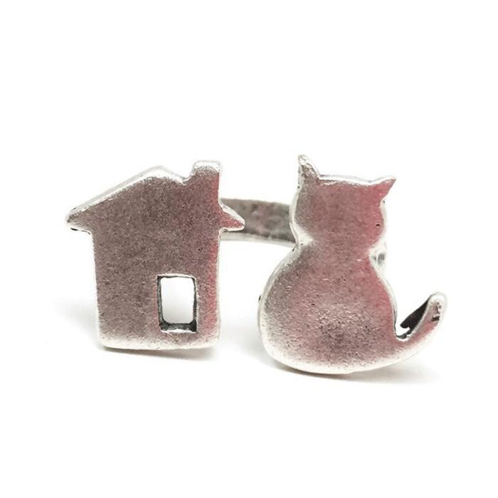 انگشتر با طرح گربه و خونه پرس کالا