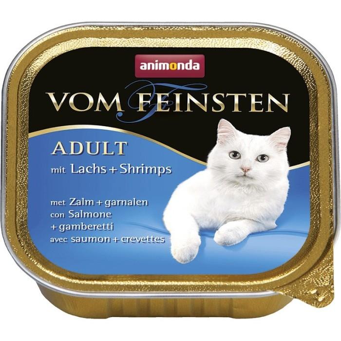 ووم فیستن حاوی گوشت ماهی سالمون و میگو مخصوص گربه بالغ