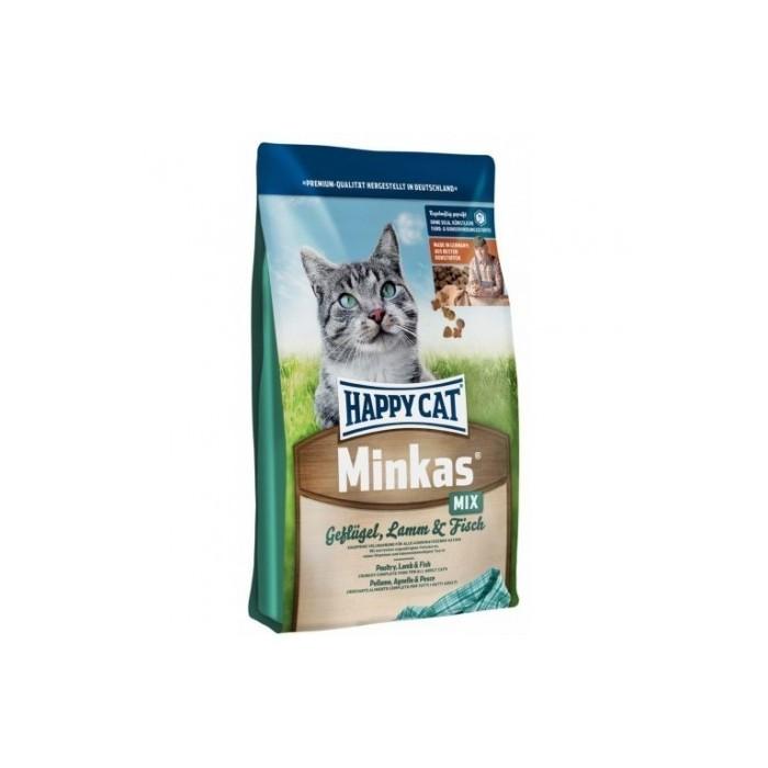 غذای خشک گربه مینکاس با گوشت ماکیان بره و ماهی مخصوص گربه های بالغ هپی کت 10 کیلویی