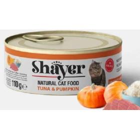 کنسرو گربه نچرال با طعم تن و کدو حلوایی شایر - 110 گرم