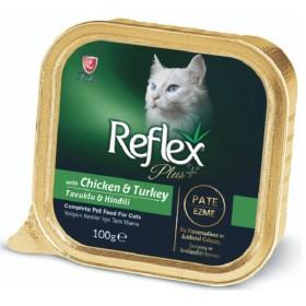 خوراک پته گربه با طعم مرغ و بوقلمون رفلکس  - 100گرم