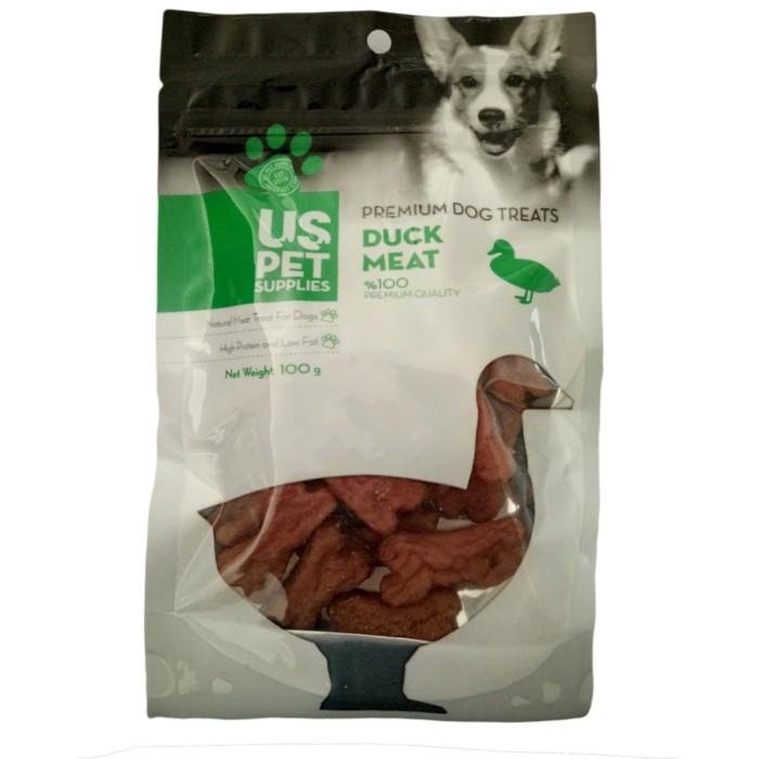تشویقی سگ مدل بیسکوییتی به شکل استخوان حاوی اردک یو اس پت - 100 گرم