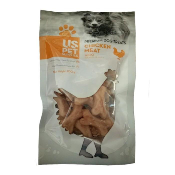 تشویقی سگ مدل بیسکوییتی به شکل استخوان حاوی مرغ یو اس پت - 100 گرم