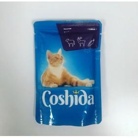 پوچ مخصوص گربه با طعم گوساله و گوشت شکار در سس هویج کوشیدا