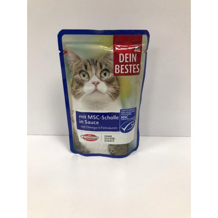 پوچ مخصوص گربه با طعم ماهی MSC در سس Dein Bestes
