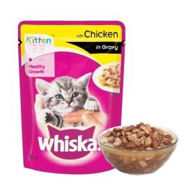 پوچ مخصوص بچه گربه با طعم مرغ در سس ویسکاس