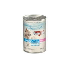 کنسرو مخصوص  گربه با طعم ساردین و تن بوناسیبو - 400 گرم