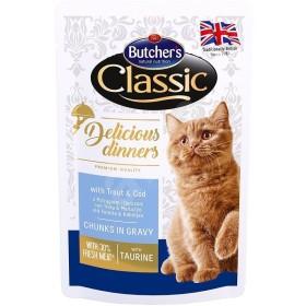 پوچ مخصوص گربه با طعم ماهی قزل آلا و کاد بوچرز - 100 گرم