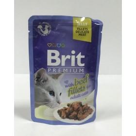 پوچ مخصوص گربه بالغ  با طعم بیف قزل آلا بریت -85 گرم