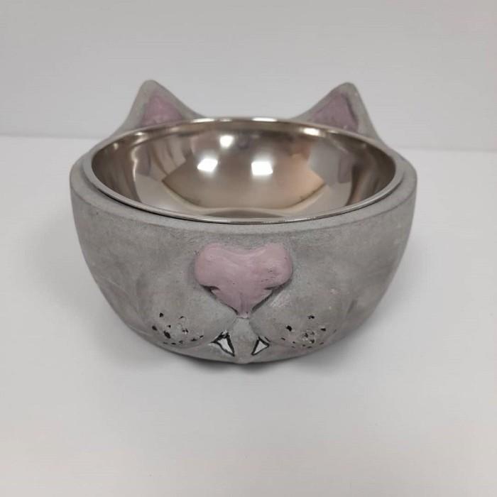 ظرف بتونی طرح گربه رنگ طوسی یاسی - بررگ
