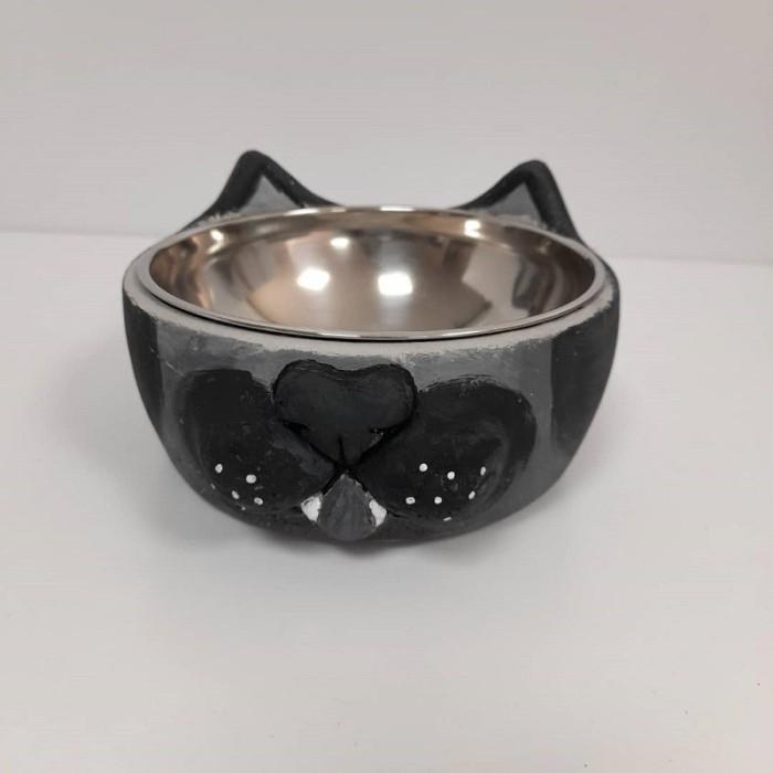 ظرف بتونی طرح گربه نقاشی شده رنگ طوسی مشکی - بررگ