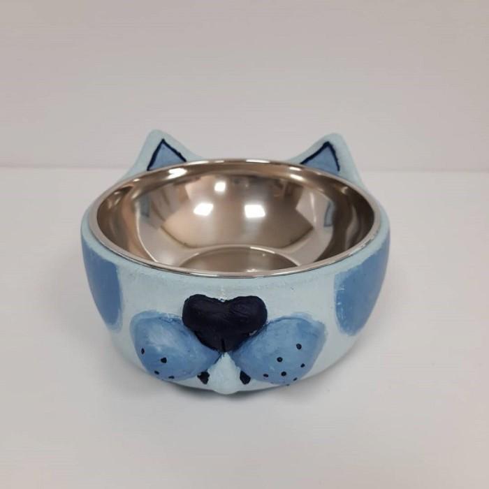ظرف بتونی طرح گربه نقاشی شده رنگ آبی روشن - بزرگ