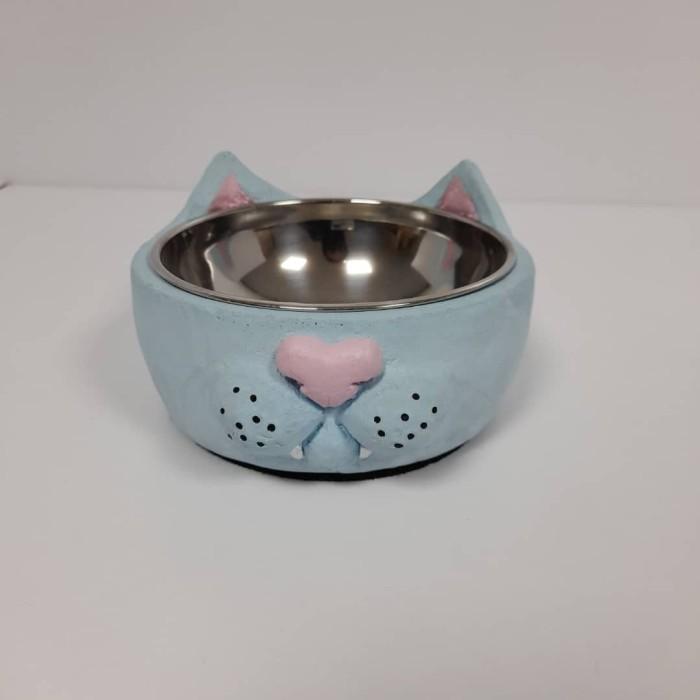 ظرف بتونی طرح گربه آبی صورتی سایز کوچک